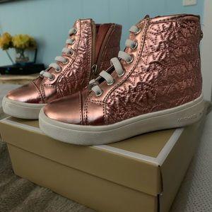 Michael Kors rose gold sneakers for toddler